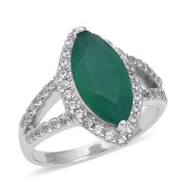 4.54 Ct Verde Onyx and Natural Cambodian White Zircon Halo Ring in Sterling Silver 5 Grams