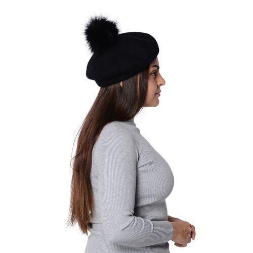Solid Colour Winter Faux Fur Pompom Hat (Size 60 Cm) - Black