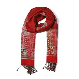 Woven Ethnic Print Scarf (Size 70x200 mm) with Tassels - Red