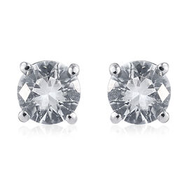 Natural Cambodian Zircon (Rnd) Stud Earrings (with Push Back) in Platinum Overlay Sterling Silver 1.250 Ct.