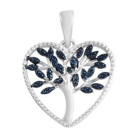 Blue Diamond (Rnd) Tree Heart Pendant in Blue Plated and Platinum Overlay Sterling Silver