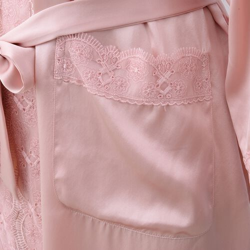 100% Mulberry Silk Robe with Lace in Powder Pink Colour - Size L (Fits M-L)