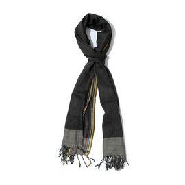 100% Wool Border Black Scarf (Size 70x200)