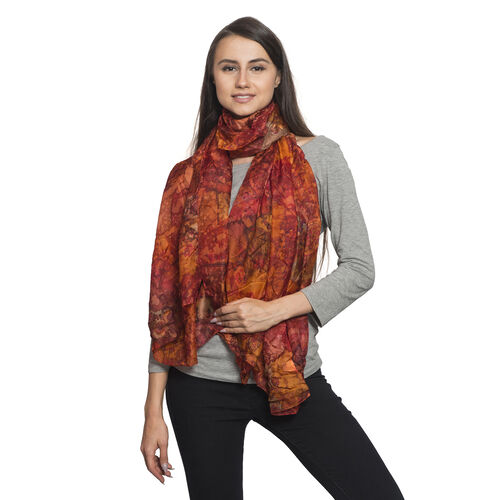 100% Mulberry Silk Red, Orange and Multi Colour Water Stroke and Floral Hand Screen Printed Scarf (S