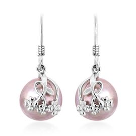Baroque Natural Purple Freshwater Pearl Drop Earrings in Rhodium Plated Sterling Silver