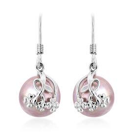 Natural Purple Freshwater Pearl Drop Earrings in Rhodium Overlay Sterling Silver