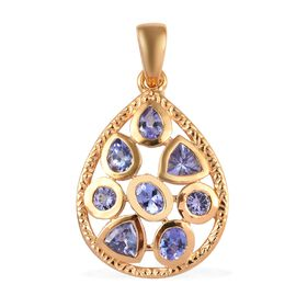 Tanzanite Teardrop Pendant in Gold Plated Sterling Silver 1.30 Ct