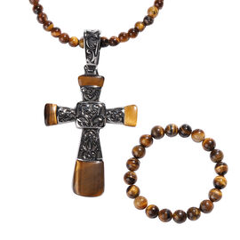 Set of 3- Yellow Tiger Eye Stretchable Bracelet (Size 7), Cross Pendant and Necklace (Size 20 with 3