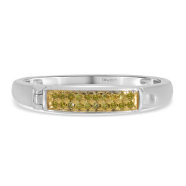 Yellow Diamond Ring in Platinum Overlay Sterling Silver 0.10 Ct.