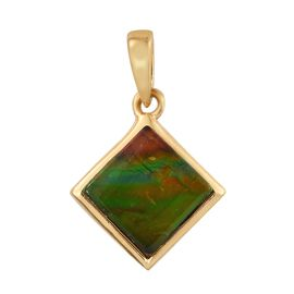 Canadian Ammolite (Sqr 8mm) Solitaire Pendant in 14K Gold Overlay Sterling Silver 2.000 Ct.