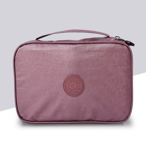 Water Resistant Portable Purple Colour Patterned Toiletry  Bag (Size 22x5x15x5cm) with Wrist Band Ha