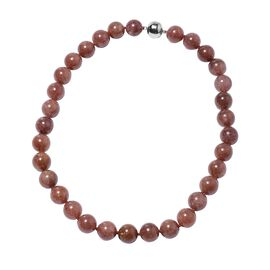 650 Ct Cherry Tanzurine Beaded Necklace with Magnetic Lock in Rhodium Plated Silver 20 Inch