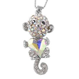 Simulated Diamond (Hrt) and Multicolour Austrian Crystal Cute Monkey Pendant with Chain (Size 24 wit