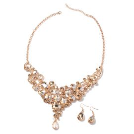 2 Piece Set - Simulated Champagne (Pear) and Champagne Color Austrian Crystal Necklace (Size 21.5 wi
