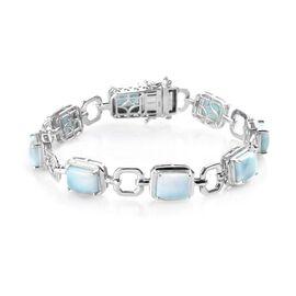 Larimar Bracelet (Size 8) in Platinum Overlay Sterling Silver 21.00 Ct, Silver wt 17.90 Gms