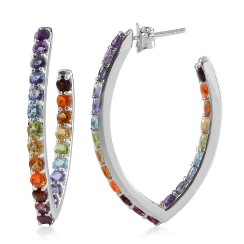 Swiss Blue Topaz, Citrine, Rhodolite Garnet and Multi Gemstone Earrings (with Push Back) in Platinum Plated Silver 5.631 Ct. Silver wt 6.40 Gms.