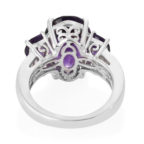 WEBEX- Lusaka Amethyst (Ovl), White Topaz Ring in Platinum Overlay Sterling Silver 6.500 Ct
