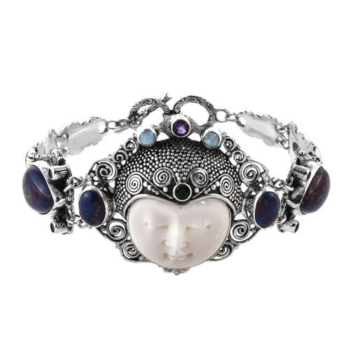 Princess Bali Collection OX Bone Carved Face and Multi Gemstone Bracelet in Sterling Silver 30 Grams