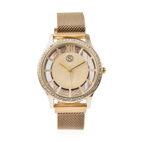 STRADA Japanese Movement White Austrian Studded Water Resistant Watch with Mesh Style Strap in Yello