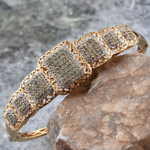 Natural Colour Change Alexandrite (Rnd), Natural Cambodian Zircon Bangle (Size 7.75) in 14K Gold Overlay Sterling Silver 3.750 Ct.