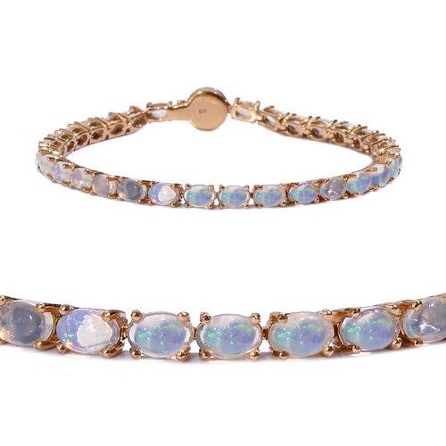 Wegeltena Ethiopian  Opal (Ovl), Diamond Bracelet (Size 8) in 14K Gold Overlay Sterling Silver 9.250