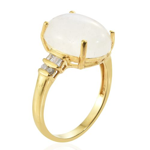 Rare Size Sri Lankan Rainbow Moonstone (Ovl 16x12mm, 8.60 Ct), Diamond Ring in 14K Gold Overlay Sterling Silver 8.750 Ct.