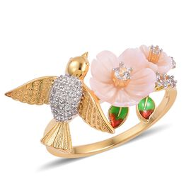 Jardin Collection -Pink Mother of Pearl, Natural White Cambodian Zircon Hummingbirds Ring in Gold and Rhodium Overlay with Enameled Sterling Silver 2.000  Ct.