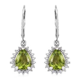 4 Ct Hebei Peridot and Zircon Halo Drop Earrings in Platinum Plated Sterling Silver