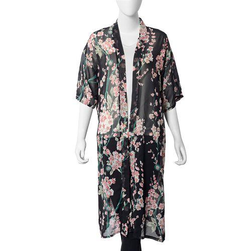 Plum Blossom Pattern Kimono (Size 112x60 Cm) - Black