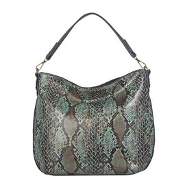 Bulaggi Collection - Protea Snake Print Hobo Shoulder Bag (Size 25x28x10cm) - Emerald Green