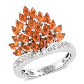 WEBEX- Jalisco Fire Opal (Mrq), Natural Cambodian Zircon Cluster Ring in Platinum Overlay Sterling Silver 1.250 Ct.