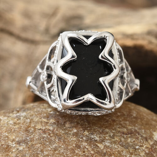Black Tourmaline (Cush 6.65 Ct), Natural Cambodian Zircon Ring in Platinum Overlay Sterling Silver 7.000 Ct, Silver wt 6.06 Gms.