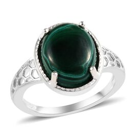 3.50 Ct Malachite Solitaire Ring in Sterling Silver