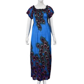 Blue, Brown and Purple Colour Peacock Feathers Pattern Summer Dress (Size 48x125 Cm)