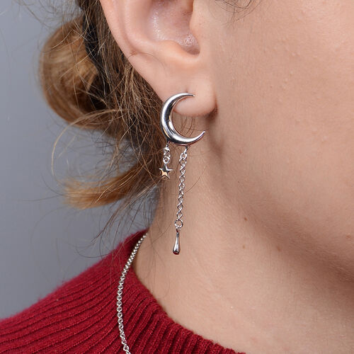 LucyQ Crescent Collection - Rhodium Overlay Sterling Silver Crescent Moon Drop Earrings ( with Push Back )