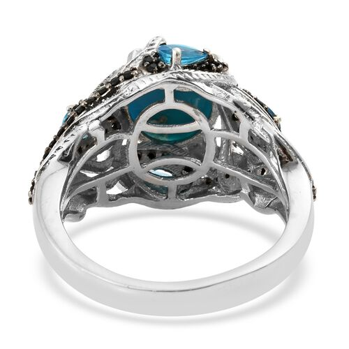 AA Arizona Sleeping Beauty Turquoise (Ovl 4.15 Ct), Malgache Neon Apatite and Boi Ploi Black Spinel Ring in Black Rhodium and Platinum Overlay Sterling Silver 5.750 Ct. Silver wt 6.80 Gms.