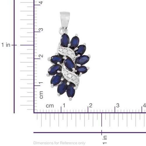 Star Blue Sapphire (Ovl) Pendant in Rhodium Plated Sterling Silver 3.500 Ct.