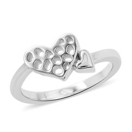 RACHEL GALLEY Lattice Heart Design Ring in Rhodium Plated Silver