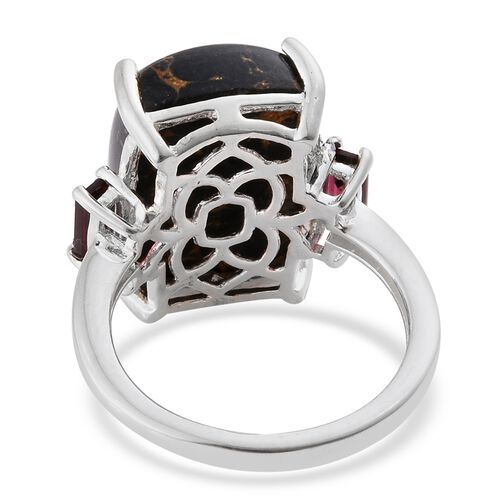 Arizona Mojave Black Turquoise (Cush), Rhodolite Garnet Ring in Sterling Silver 10.250 Ct.