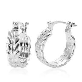 Designer Inspired- Sterling Silver Leaf Hoop Earrings, Silver wt 4.50 Gms