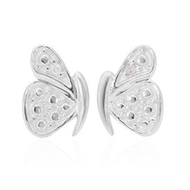 Diamond Butterfly Earrings (with Push Back) in Platinum Overlay Sterling Silver
