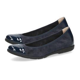 Caprice Leather Ballerina Shoe - Navy