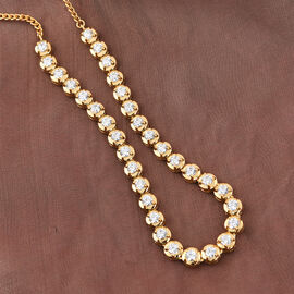 J Francis 14K Gold Overlay Sterling Silver Necklace (Size 18) Made with SWAROVSKI ZIRCONIA 8.92 Ct, Silver wt. 14.00 Gm