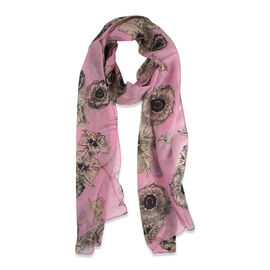 Designer 100% Mulberry Silk Floral Printed Pink and Multi Colour Scarf (Size 180x30 cm)