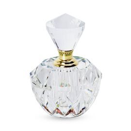 Round Carved Crystal Refillable Perfume Bottle with Colourful Base(Size 10x4.8 mm)