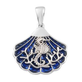 Platinum Overlay Sterling Silver Sea Horse Pendant with Enamelling