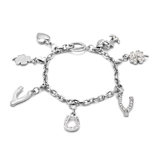 THMOAS CALVI White Austrian Crystal Bracelet (Size 7) with 7 Pcs of Charms in Silver Tone
