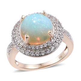 4 Carat Ethiopian Opal and Cambodian Zircon Halo Ring in 9K Gold 4.45 Grams