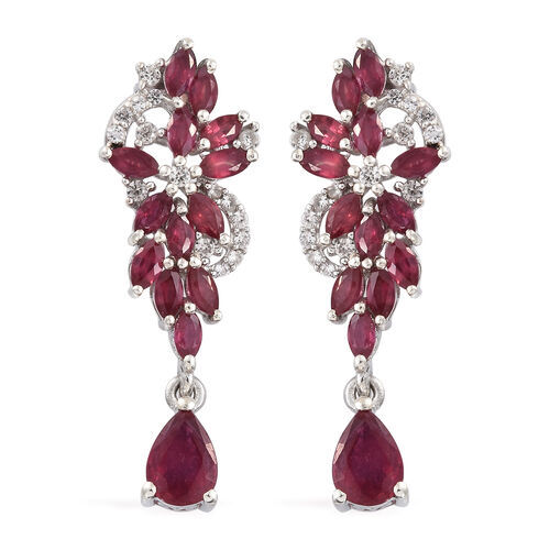 AAA African Ruby (Mrq), Natural Cambodian Zircon Earrings (with Push Back) in Platinum Overlay Sterling Silver 5.000 Ct.