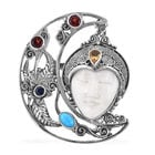 Royal Bali Carved Face and Multi Gemstone Crescent Moon pendant in Sterling Silver 19.55 Grams